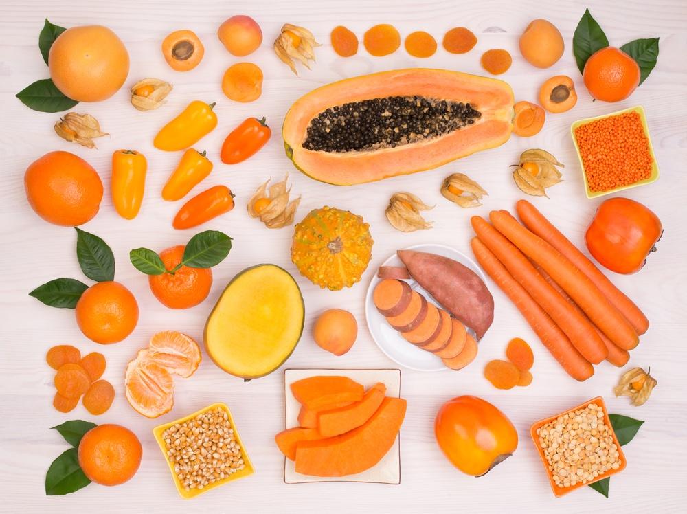 frutas y verdutas con betacaroteno